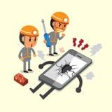Cartoon technicians and a broken smartphone Stock Photo