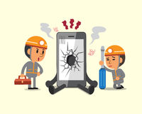 Cartoon technicians and broken smartphone Stock Images