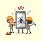Cartoon technicians repairing a broken smartphone Royalty Free Stock Images