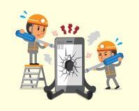 Cartoon technicians repairing smartphone broken smartphone Royalty Free Stock Image