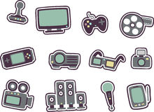 Cartoon technology icons 2 Royalty Free Stock Images