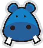 Cartoon teddy. A beautiful blue colored  hippopotamus face Royalty Free Stock Photo