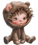 Cartoon teddy bear -baby girl with curled hairs. Cartoon teddy bear - baby girl with curled hairs royalty free stock photos