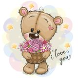 Cartoon Teddy Bear with flowers stock illustration