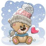 Cartoon Teddy bear in a knitted cap sits on a snow royalty free illustration