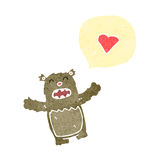 Cartoon teddy bear and love heart Royalty Free Stock Photography