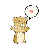 Cartoon teddy bear with love heart Royalty Free Stock Images