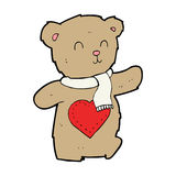 Cartoon teddy bear with love heart Royalty Free Stock Photos