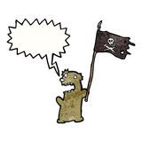 cartoon teddy bear with pirate flag Royalty Free Stock Photography