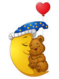 Cartoon teddy bear sleep on the moon Stock Images