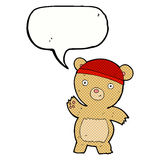 Cartoon teddy bear with speech bubble Royalty Free Stock Photo