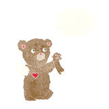 Cartoon teddy bear with torn arm with thought bubble royalty free illustration