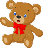 Cartoon teddy bear waving hand Royalty Free Stock Images