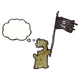 Cartoon teddy bear waving pirate flag Royalty Free Stock Photo