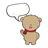 Cartoon teddy bear wearing scarf with speech bubble Stock Image