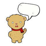 Cartoon teddy bear wearing scarf with speech bubble Stock Photography