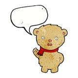 Cartoon teddy bear wearing scarf with speech bubble Royalty Free Stock Photography
