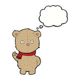 Cartoon teddy bear wearing scarf with thought bubble Stock Images