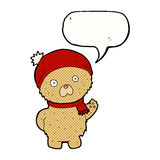 Cartoon teddy bear in winter hat and scarf with speech bubble Stock Photos