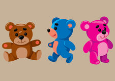 Cartoon Teddy Bears. Vector illustration of cartoon colored toy bears Royalty Free Stock Photo