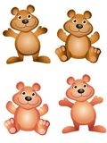 Cartoon Teddy Bears. An illustration featuring your choice of cute teddy bears in brown and pink isolated Royalty Free Stock Photography