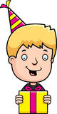Cartoon Teen Boy Birthday Present Royalty Free Stock Photo