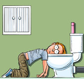 Cartoon teen boy sick in the toilet Royalty Free Stock Photo