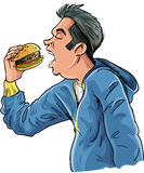 Cartoon teen eating a hamburger. Isolated on white Royalty Free Stock Photography