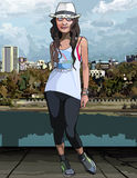 Cartoon teen girl on the city waterfront Stock Photos
