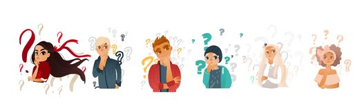 Vector cartoon people with qestions thinking set. Cartoon teen people with questions set. Young caucasian women with ribbon in hair, men thinking. Male female vector illustration