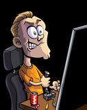 Cartoon teen playing computer game Royalty Free Stock Photography