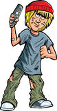 Cartoon teen with a remote control Stock Images