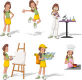 Cartoon teenage girl. In different activities Stock Photos