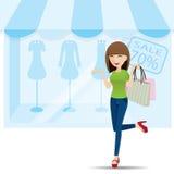 Cartoon teenage girl shopping on shop background Stock Photos