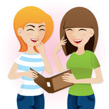 Cartoon teenage girls laughing with magazine Stock Photo