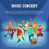 Cartoon Teenage Music Concert. Concept music character designe. vector illustration. Stock Photo