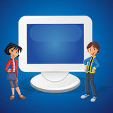 Cartoon Teenager Couple And Computer Royalty Free Stock Photography