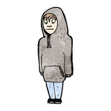 Cartoon teenager in hooded sweatshirt Stock Image