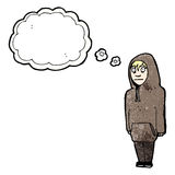 Cartoon teenager in hooded top Royalty Free Stock Images