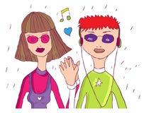 Cartoon Teenager love couple. Music, love, freedom, family. vector illustration stock illustration