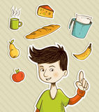 Cartoon teenager shows healthy food Stock Photography