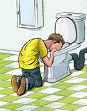 Cartoon teenager sick in toilet. Stock Photos