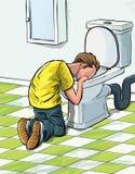 Cartoon teenager sick in toilet. Stock Photos