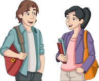 Cartoon teenager students. With books and backpack Stock Photography