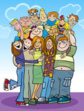 Cartoon teenagers group Stock Images
