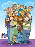 Cartoon teenagers group royalty free illustration
