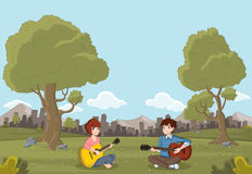 Cartoon teenagers playing guitar Royalty Free Stock Photography