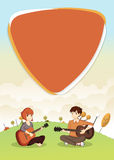 Cartoon teenagers playing guitar Royalty Free Stock Images