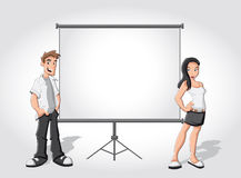 Cartoon teenagers and white billboard Stock Photography