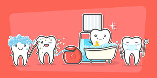 Cartoon teeth care and hygiene concept. Royalty Free Stock Image